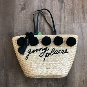 Kate Spade Going Places Straw Woven Handbag